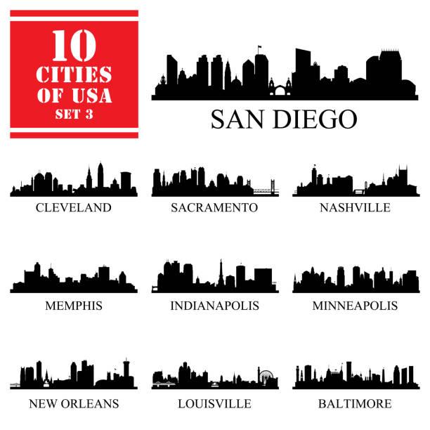 10 siluetleri abd şehirler ayarla - panoramik stock illustrations