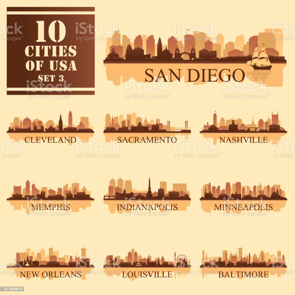 Set of 10 silhouettes USA Cities vector art illustration