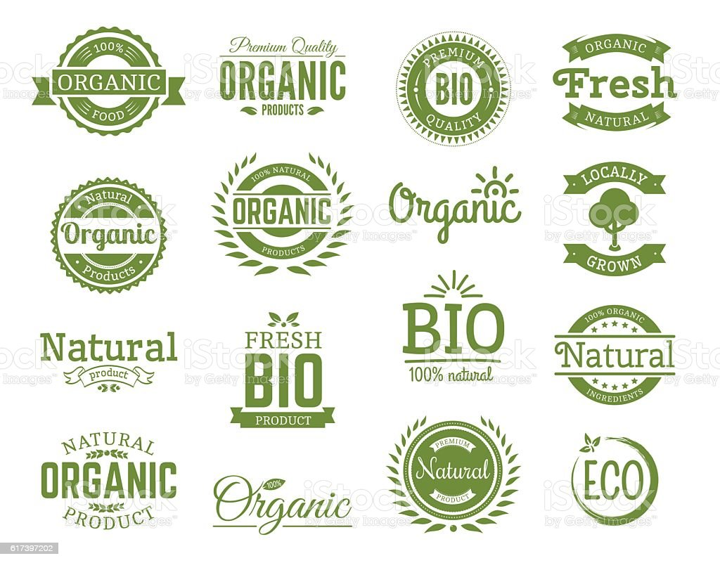 set of 100% bio, natural, organic, eco, healthy, food logos vector art illustration