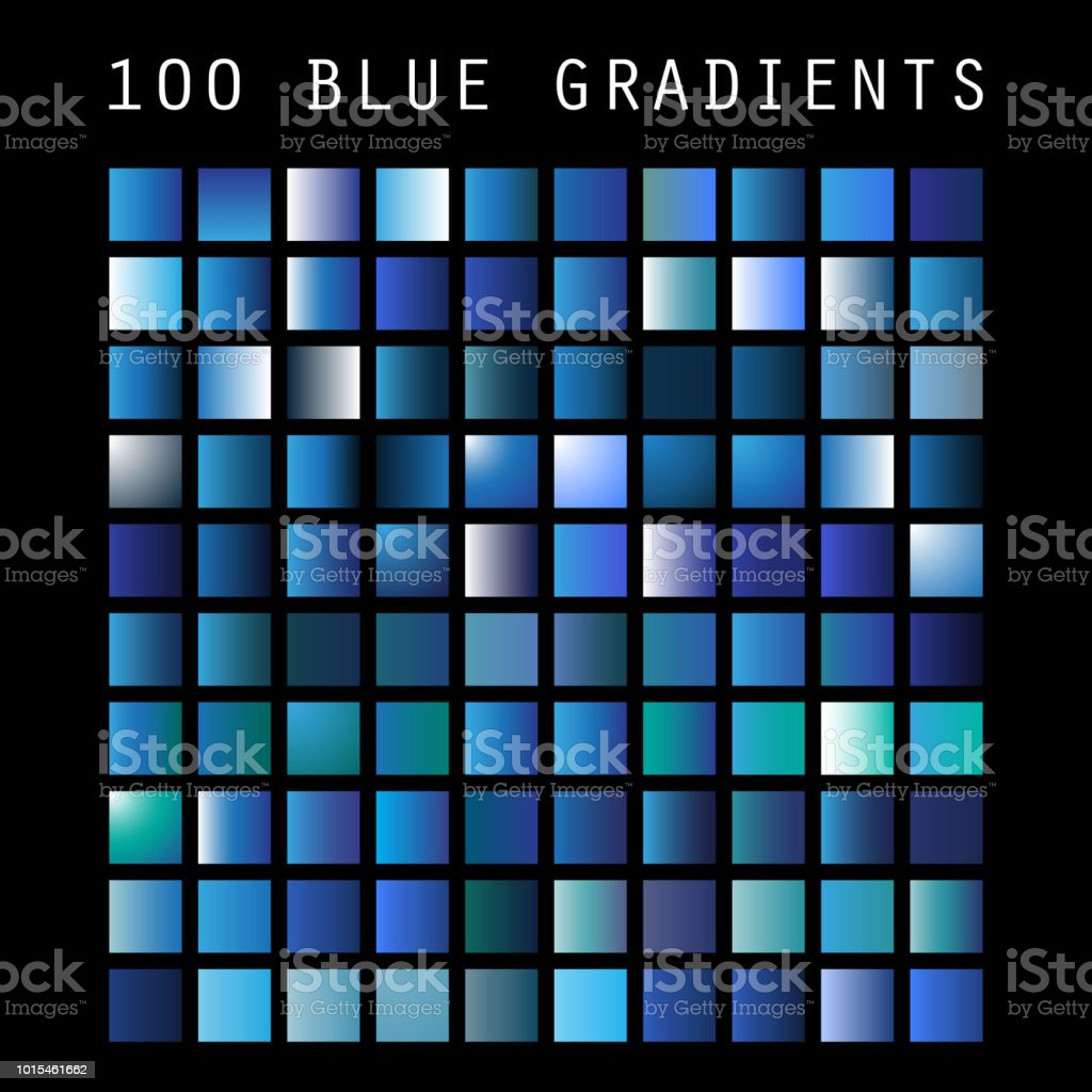 Satz von 100 blaue Farbtöne und Gradient Proben, Design-Vorlage – Vektorgrafik