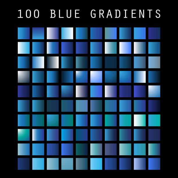 ilustrações, clipart, desenhos animados e ícones de conjunto de 100 tons de cor azul e amostras gradientes, modelo de design - amostra de cor