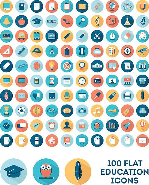illustrazioni stock, clip art, cartoni animati e icone di tendenza di set di 100 icone di educazione in stile piatto - scuola