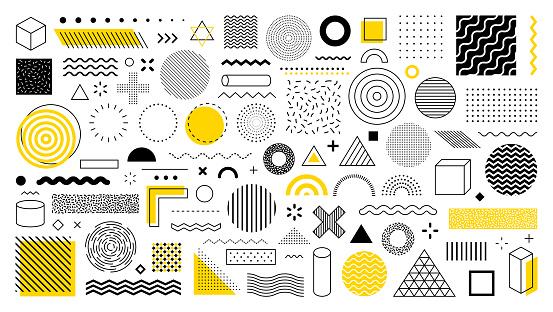 Set of 100 geometric shapes. design, retro elements for web, vintage, advertisement, commercial banner, poster, leaflet, billboard, sale. Collection trendy halftone vector geometric shapes.