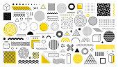 Set of 100 geometric shapes. design, retro elements for web, vintage, advertisement, commercial banner, poster, leaflet, billboard, sale. Collection trendy halftone vector geometric shapes