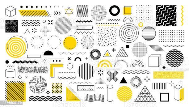 Set Of 100 Geometric Shapes Design Retro Elements For Web Vintage Advertisement Commercial Banner Poster Leaflet Billboard Sale Collection Trendy Halftone Vector Geometric Shapes - Arte vetorial de stock e mais imagens de Abstrato