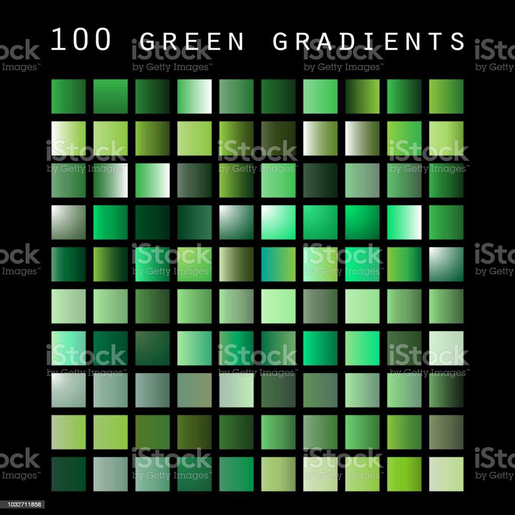 100 の緑の色合いとグラデーション サンプルデザイン テンプレートの