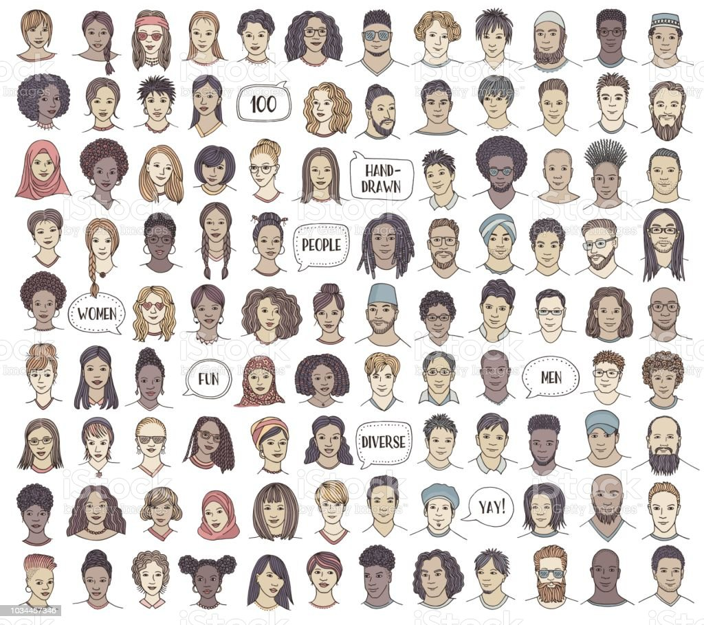 Set of 100 hand drawn and diverse faces vector art illustration