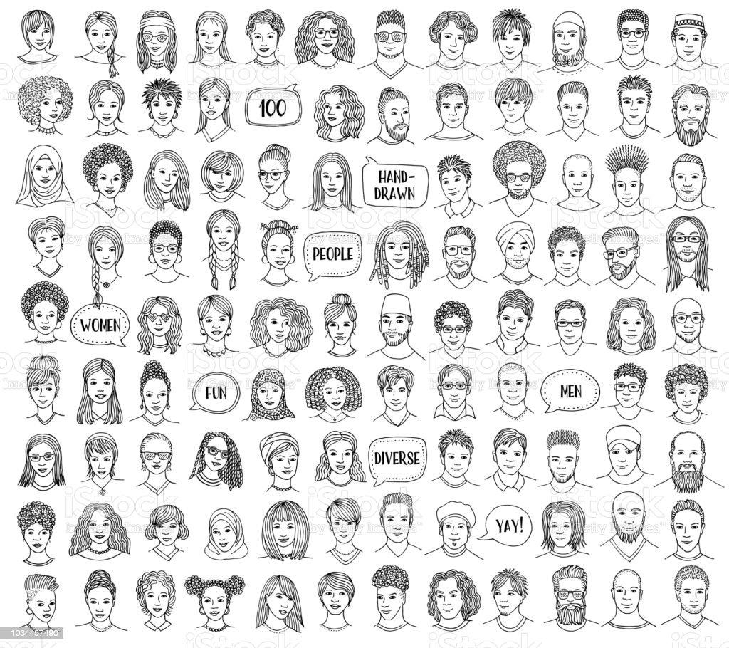 Conjunto de 100 mão desenhadas e diversas faces vetores de conjunto de 100 mão desenhadas e diversas faces e mais imagens de adulto royalty-free