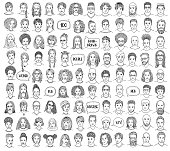 Set of 100 hand drawn and diverse faces