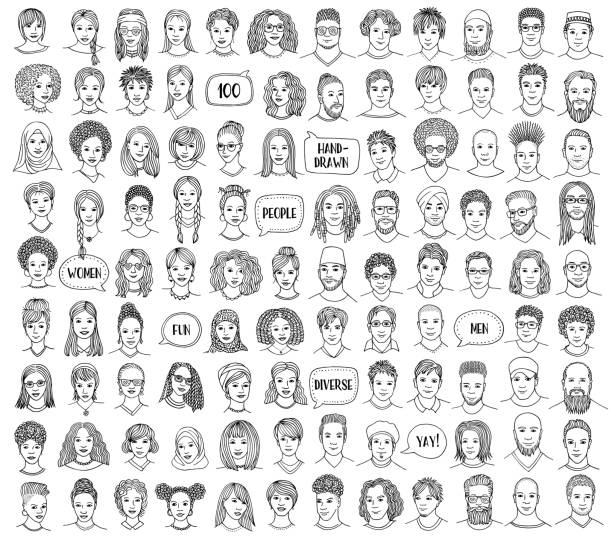 set of 100 hand drawn and diverse faces - female faces stock illustrations, clip art, cartoons, & icons