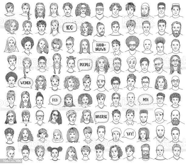 100 枚セット手描きと多様な顔 - いたずら書きのベクターアート素材や画像を多数ご用意