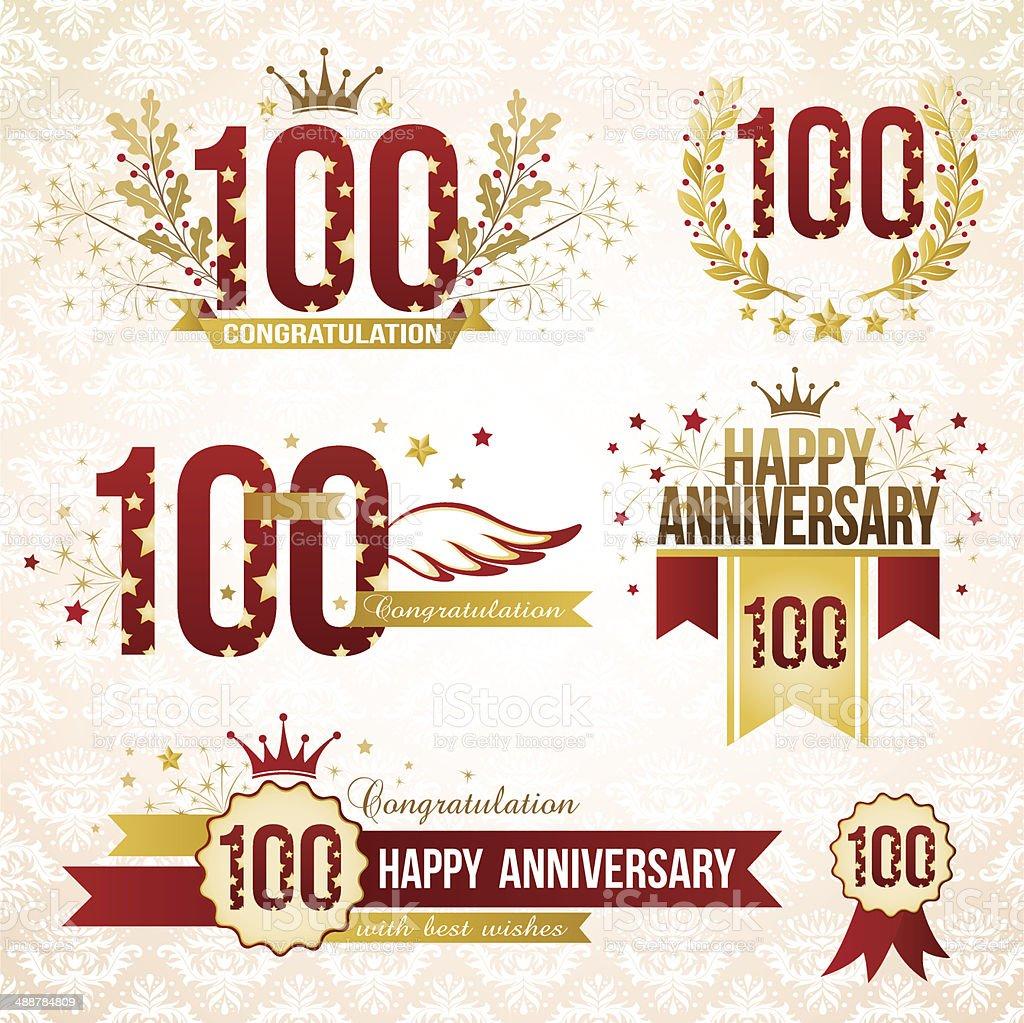 Set of 100th anniversary emblems. vector art illustration