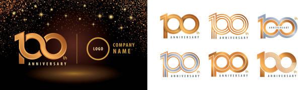 bildbanksillustrationer, clip art samt tecknat material och ikoner med set om 100-års jubileum logotypdesign, hundraårsjubileum firande - nummer 100