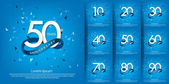 set of 10-90 years anniversary celebration white logo with blue circle ribbon. vector illustration template design for web, poster, flyers, greeting card and invitation card
