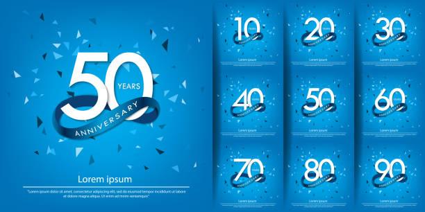 bildbanksillustrationer, clip art samt tecknat material och ikoner med 10-90 års jubileumsfirande vit logotyp med blå cirkelband. vektor illustration mall design för webb, affisch, flygblad, gratulationskort och inbjudningskort - årsdag