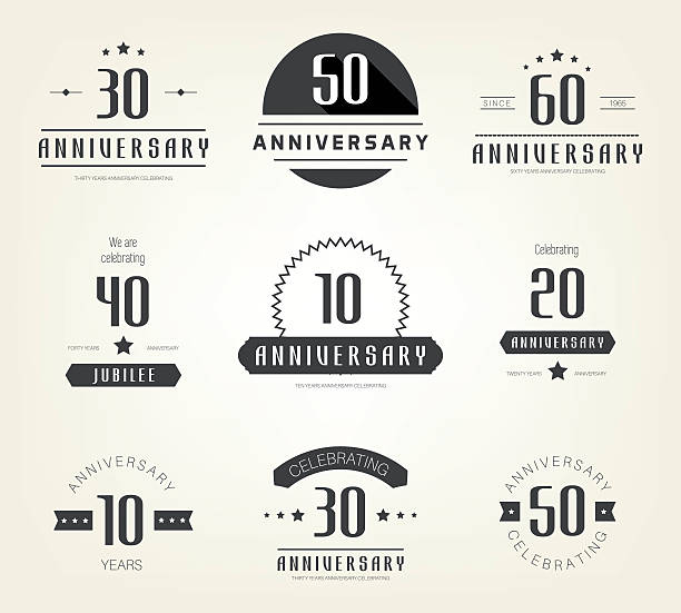 Set of 10th, 20th, 30th, 40th, 50th, 60th anniversary logo. vector art illustration