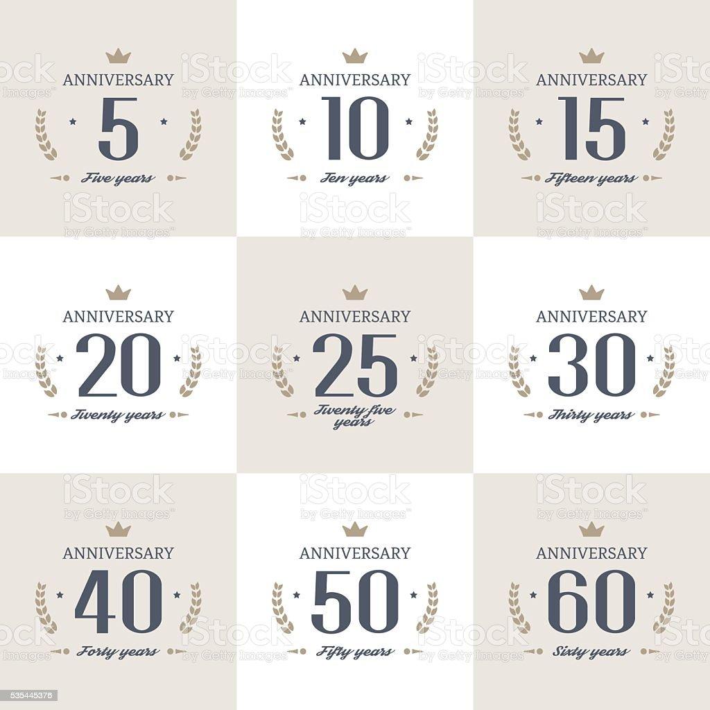 Juego de 10, 20, 30, 40th, el quincuagésimo aniversario, 60º logotipo. - ilustración de arte vectorial