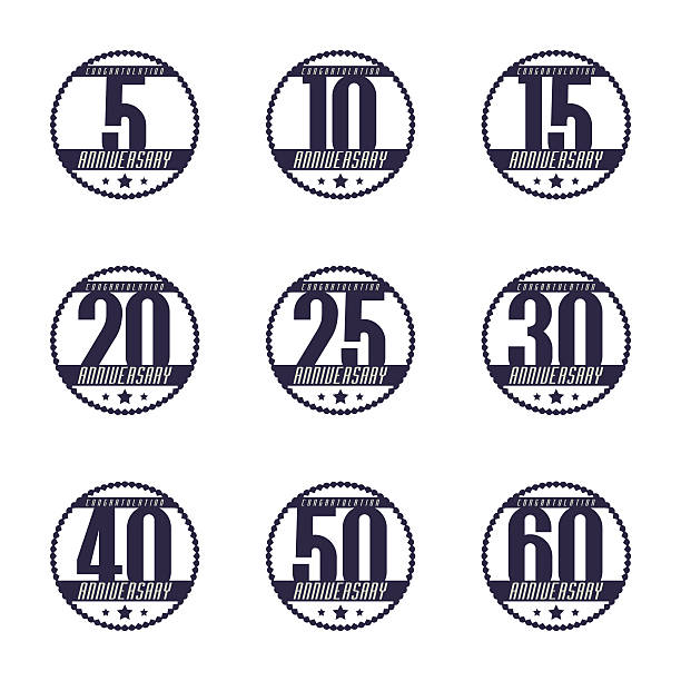Set of 10th, 20th, 30th, 40th, 50th anniversary logo. vector art illustration