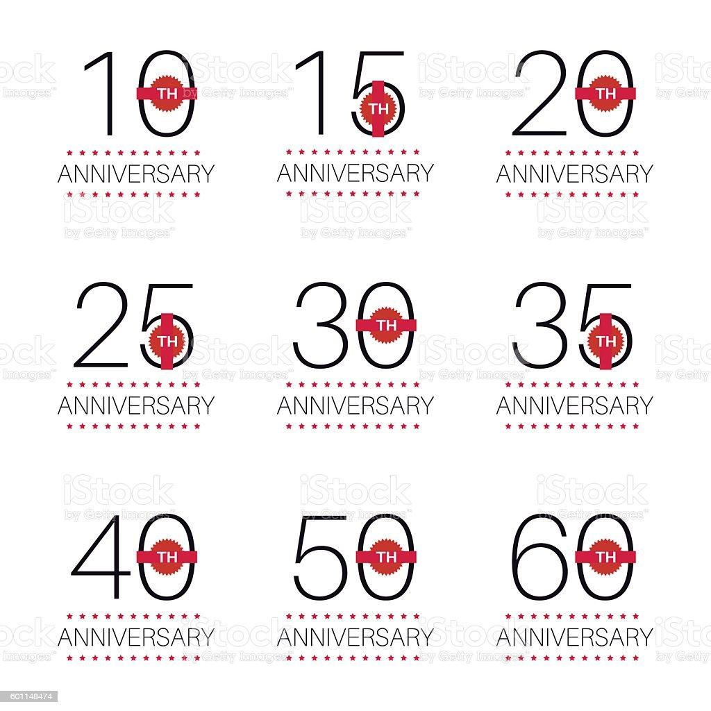Conjunto de 10, 20, 30, 40ª, 50 aniversario logotipo. - ilustración de arte vectorial