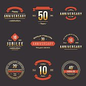 Set of 10th, 20th, 30th, 40th, 50th jubelee logo.