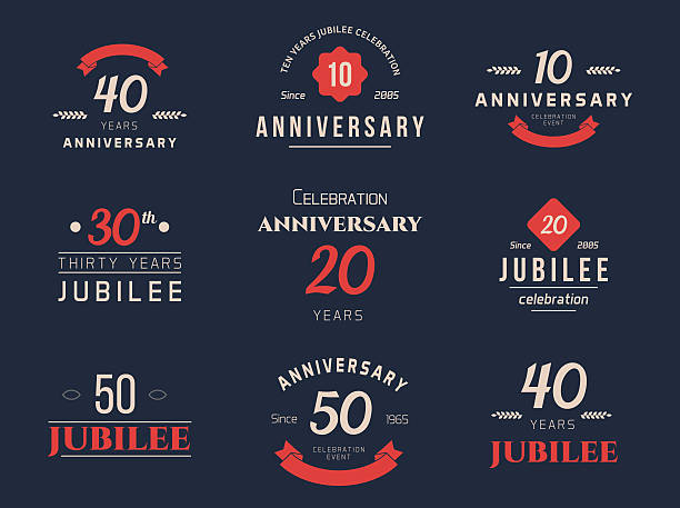 Set of 10th, 20th, 30th, 40th, 50th jubilee logo. vector art illustration