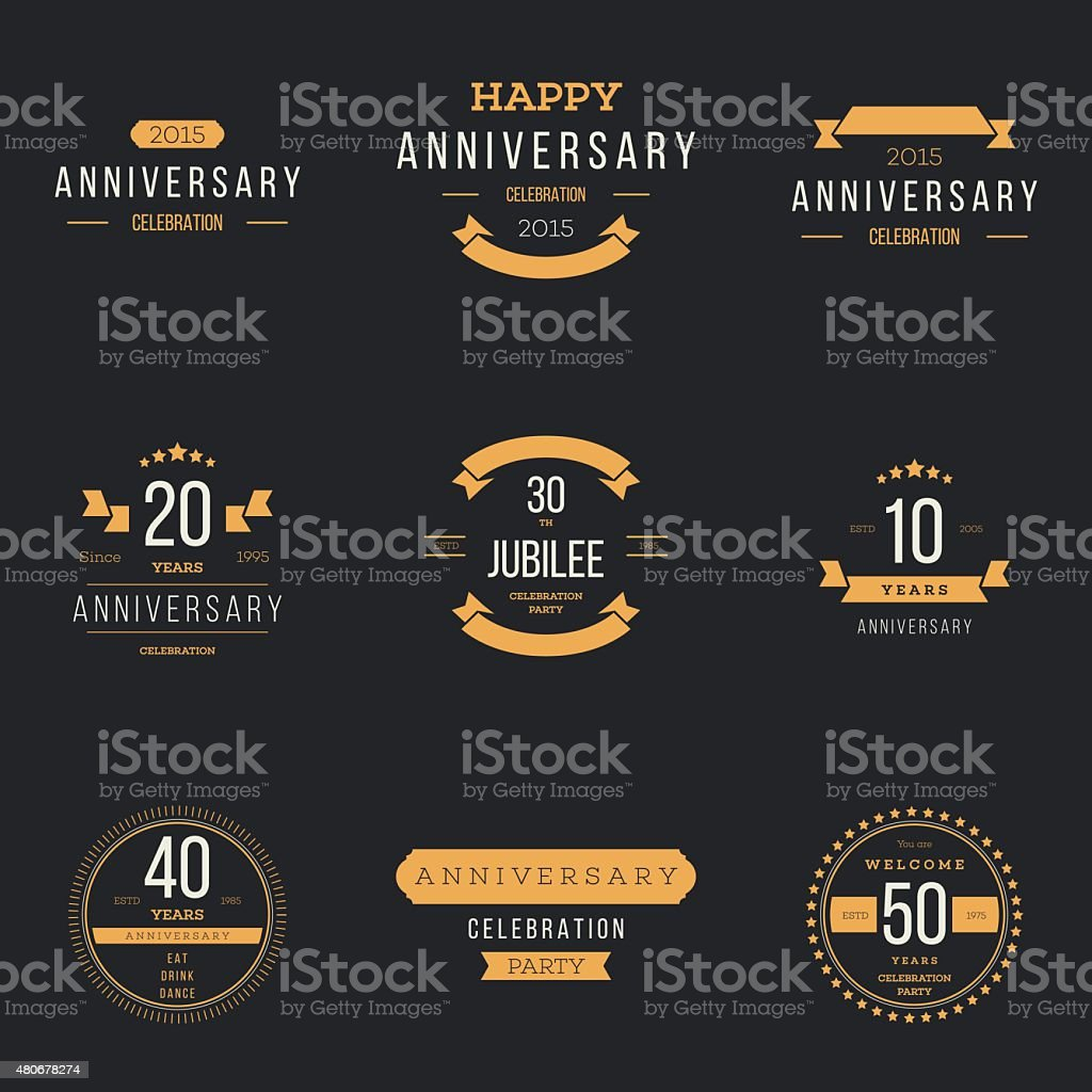 Juego de 10, 20, 30, 50, 40th, jubilee logotipo. - ilustración de arte vectorial