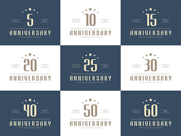 Set of 10th, 20th, 30th, 40th, 50th jubilee logo. vector art illustration