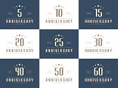 Set of 10th, 20th, 30th, 40th, 50th jubilee logo.