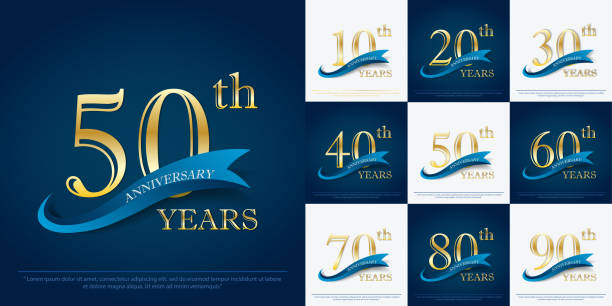 ilustraciones, imágenes clip art, dibujos animados e iconos de stock de conjunto de la 10ª-90ª elegancia aniversario de celebración de oro con cinta azul, diseño de logotipo de aniversario para la web, juego, cartel, folleto, folleto, volante, revista, tarjeta de felicitación y tarjeta de invitación - anniversary