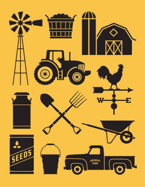 Set of 11 detailed farm icon illustrations. Realistic and highly detailed silhouette illustrations of farm tools, buildings and vehicles. gardening equipment stock illustrations