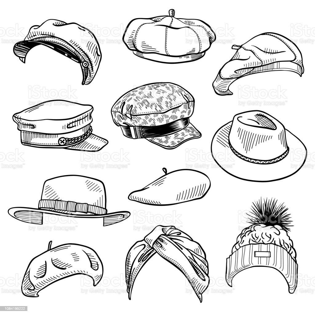 techniques modernes brillance des couleurs large choix de couleurs et de dessins Ensemble De 11 Femmes Fashion Chapeaux Croquis Chapeau ...