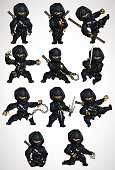 Set of 11 Ninja poses in a black suit