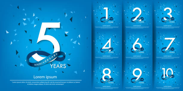 set of 1-10 years anniversary celebration emblem. anniversary white logo with blue circle ribbon. vector illustration template design for web, poster, flyers, greeting card and invitation card set of 1-10 years anniversary celebration emblem. anniversary white logo with blue circle ribbon. vector illustration template design for web, poster, flyers, greeting card and invitation card anniversary stock illustrations