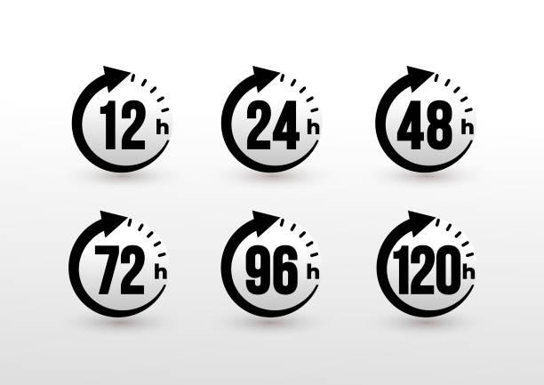 ilustrações, clipart, desenhos animados e ícones de conjunto de 12, 24, 48, 72, 96, 120 horas de seta do relógio. efeito de tempo de trabalho ou ícones de tempo de serviço de entrega. horas de execução da ordem ou serviço de entrega. ilustração do vetor. isolado no fundo branco. - dia do cliente