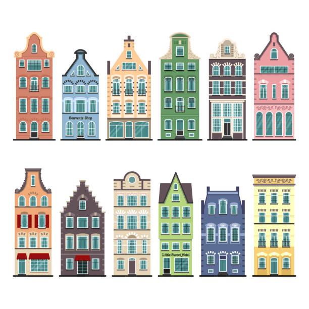 satz von 12 amsterdam alte häuser cartoon fassaden - ziegelwände stock-grafiken, -clipart, -cartoons und -symbole