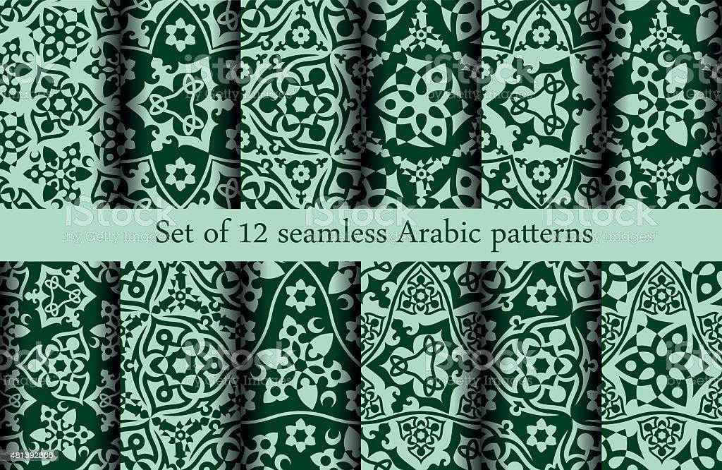 Set of 12 Arabic patterns vector art illustration