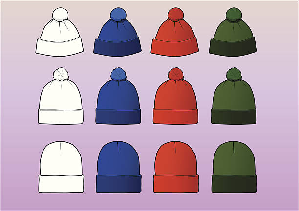 Set of 12 assorted beanies Set of 12 assorted beanies, divided in 3 styles/sizes. Each style has its own layer and contains a white, easily modifiable template. The colors are red, blue and green. knit hat stock illustrations