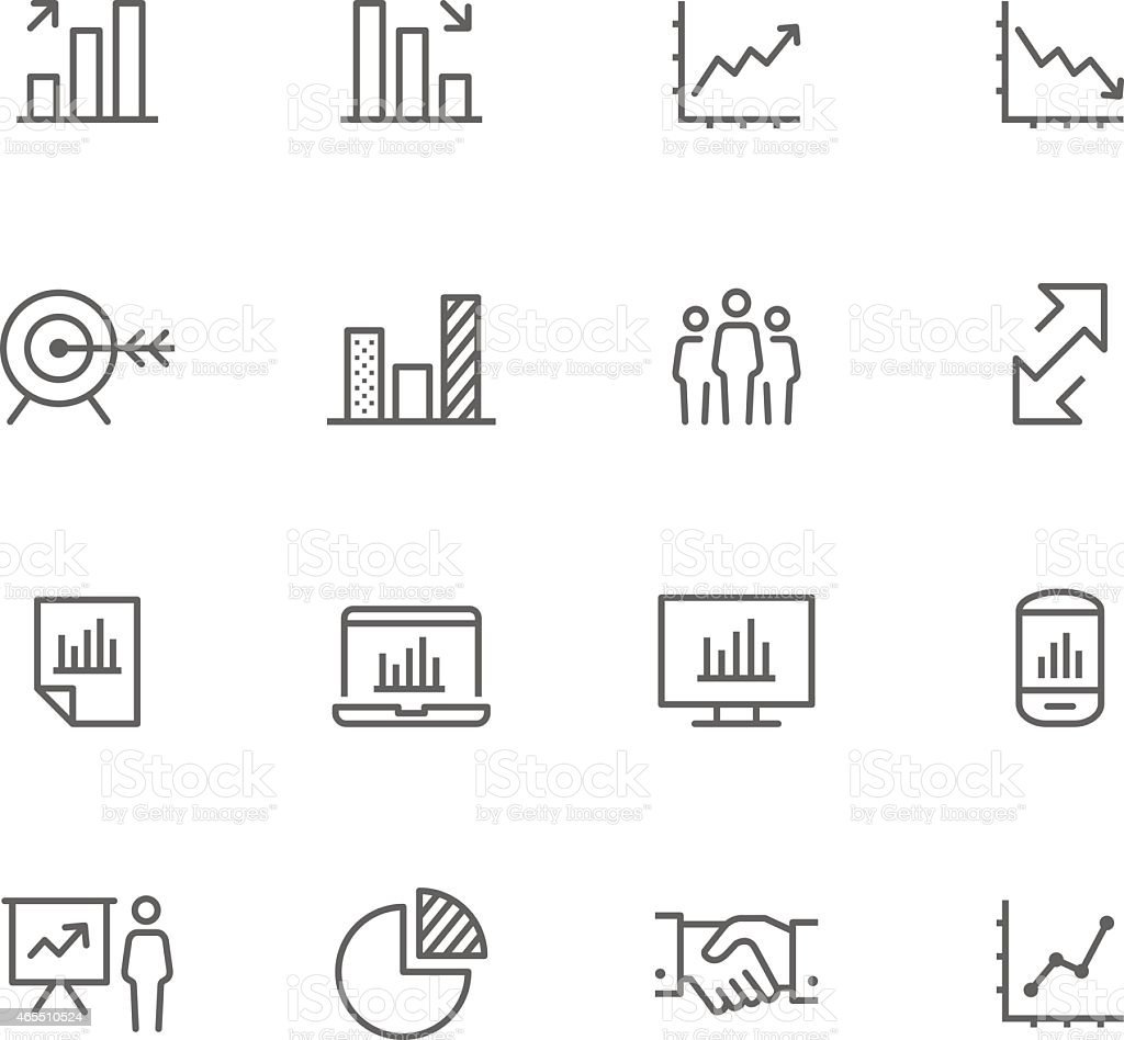 Set of 12 black-and-white business icons vector art illustration