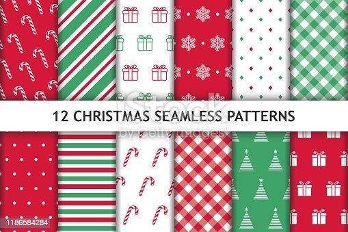 Set of 12 Christmas seamless patterns