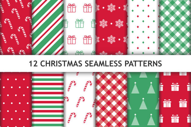 set of 12 christmas seamless patterns. red, green and white colored. new year backgrounds. can be used for textile print, wrapping papers etc.  vector illustration. - papier do pakowania stock illustrations