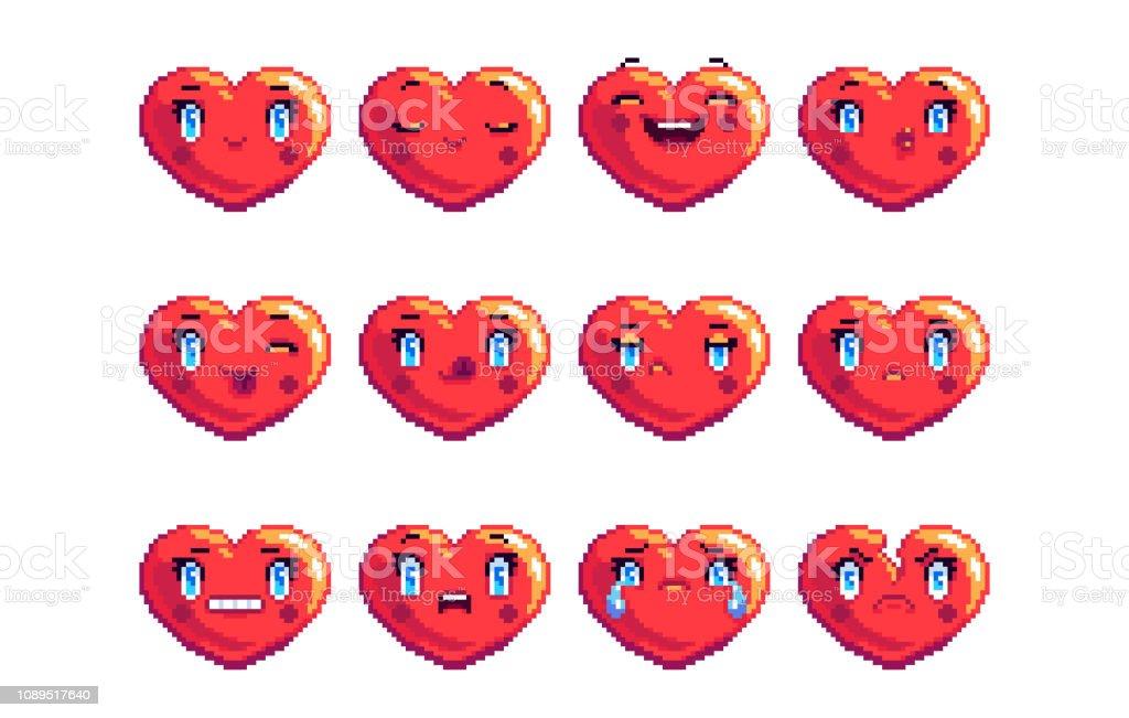 Ensemble De 12 Communes Cœur En Forme De Pixel Art Emoji