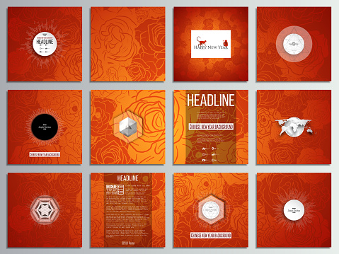 Set of 12 creative cards, square brochure template design. Chinese