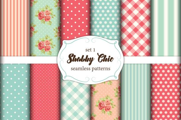 Set of 12 cute seamless Shabby Chic patterns with roses, polka dots. stripes and plaid Set of 12 cute seamless Shabby Chic patterns with roses, polka dot and plaid, ideal for kitchen textile or bed linen fabric or interior wallpaper design, can be used for scrap booking paper etc shabby chic stock illustrations