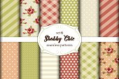 Set of 12 cute seamless Shabby Chic patterns with roses, polka dot and plaid, ideal for kitchen textile or bed linen fabric or interior wallpaper design, can be used for scrap booking paper etc
