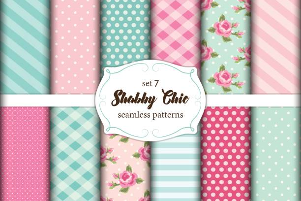 Set Of 12 Cute Seamless Shabby Chic Patterns With Roses Polka Dots Stripes And