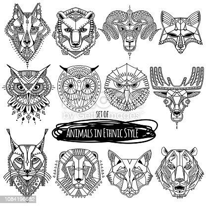 Vector hand drawn illustration, totem, tattoo design, ethnic logo