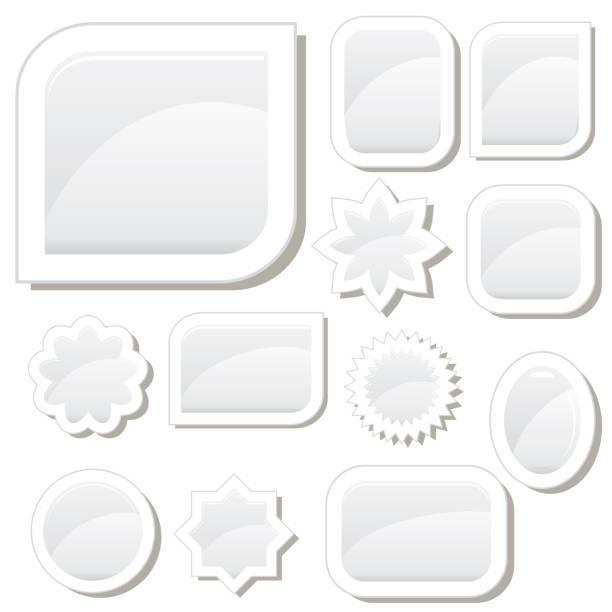 Set of 12 flat white glass buttons vector art illustration
