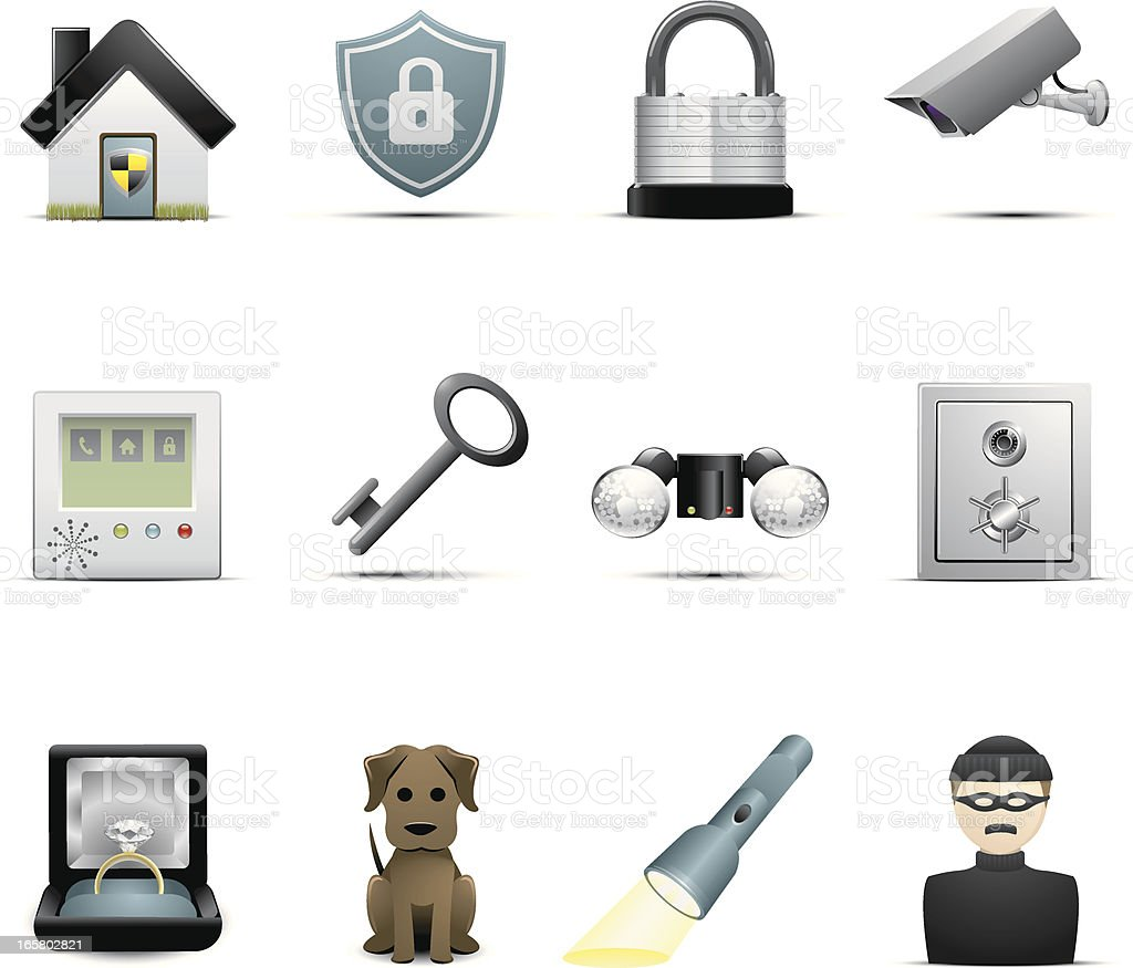 Set of 12 home security icons on white royalty-free stock vector art
