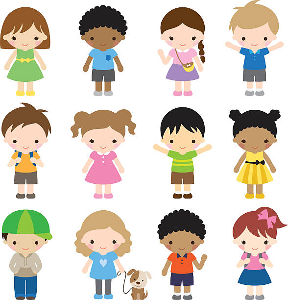 stockillustraties, clipart, cartoons en iconen met set of 12 kid characters - meisjes
