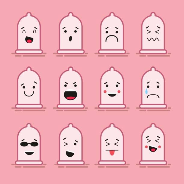 ilustraciones, imágenes clip art, dibujos animados e iconos de stock de conjunto de 12 emoticonos planos moderno: condón de látex sonrisa, tristeza y otras emociones. ilustración de vector aislado de fondo de color. - planificación familiar